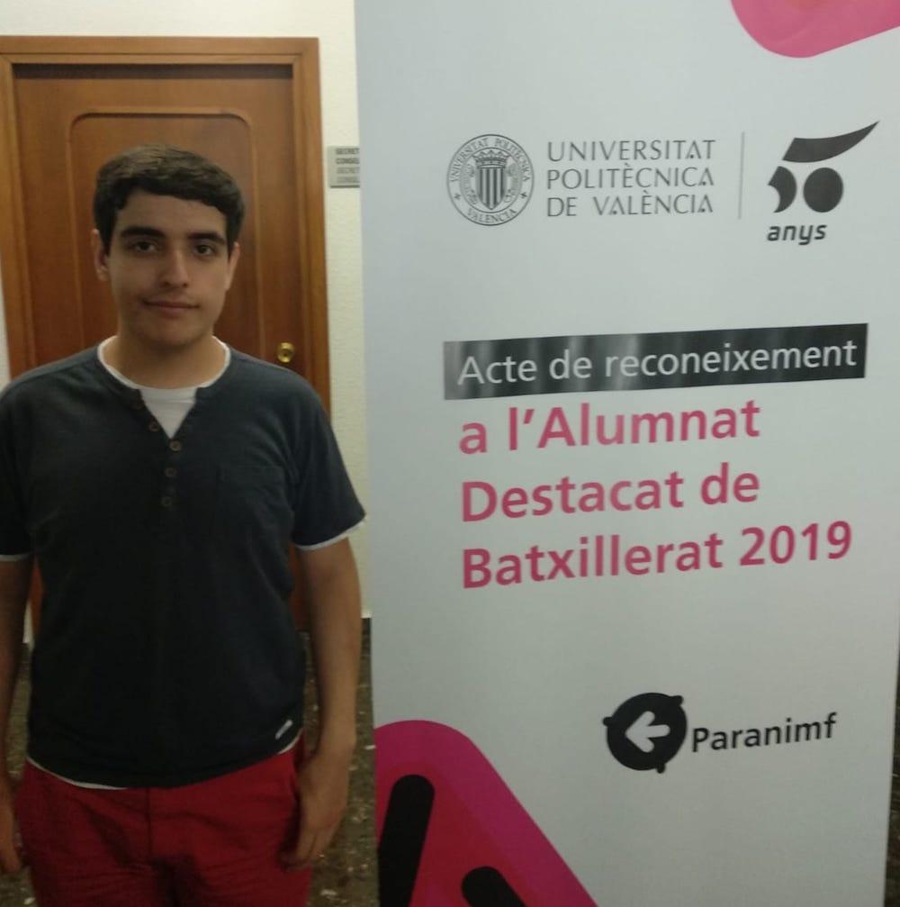 Reconocimiento al alumno Guillermo Arjona por parte de la UPV