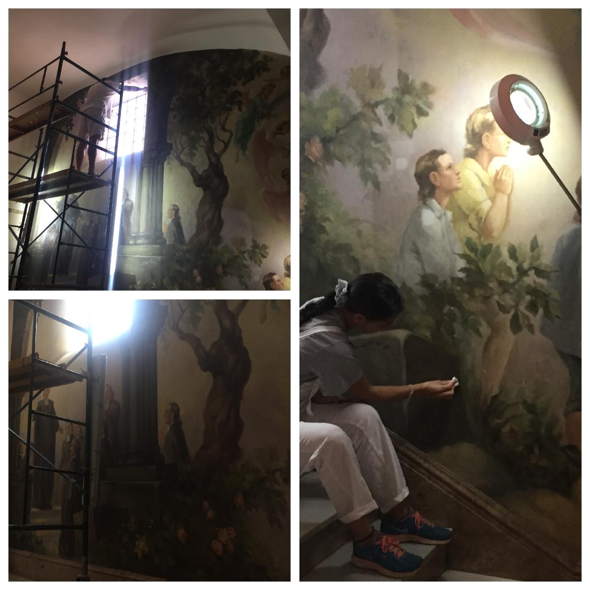 Restauración del mural del hall del Colegio La Salle de Paterna