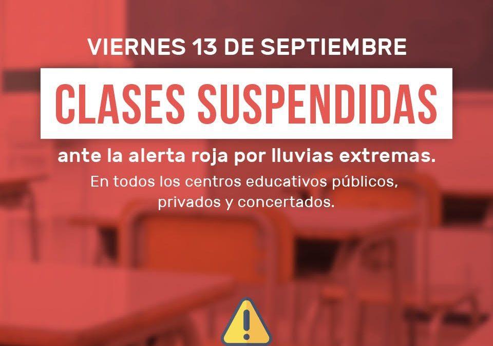 Suspensión de las clases el viernes 13 de septiembre