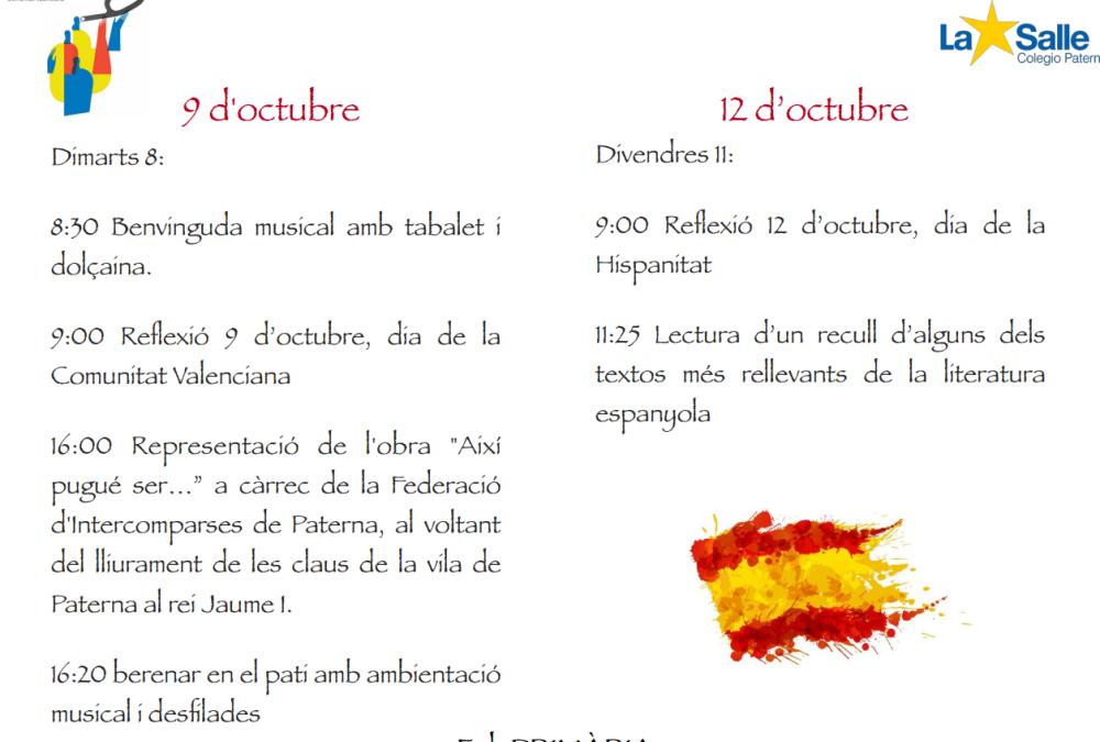 La Salle Paterna celebra les festivitats del 9 i 12 d'octubre