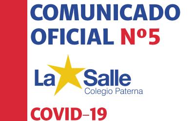 Comunicado Oficial Nº5 Covid-19 – Colegio La Salle Paterna