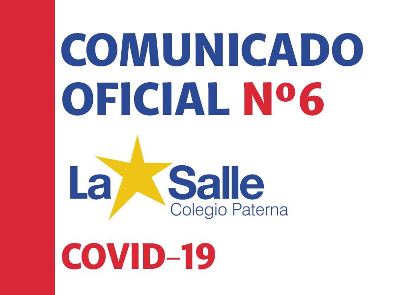 Comunicado Oficial Nº6 Covid-19 – Colegio La Salle Paterna