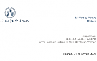 Carta de felicitación de la Rectora de la Univesitat de València por los buenos resultados en la EBAU 2021